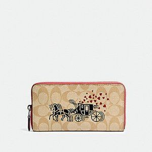 COACH Signature Canvas Horse and Carriage Wallet